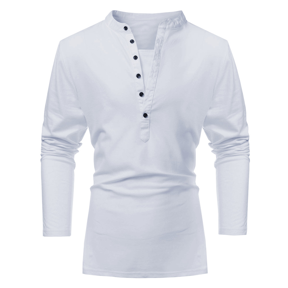 2d1f07b9016 Men Fall Cotton Polyester Solid Pure Color Button V-neck Long Sleeve T-shirt  – Millington Shopping Mall