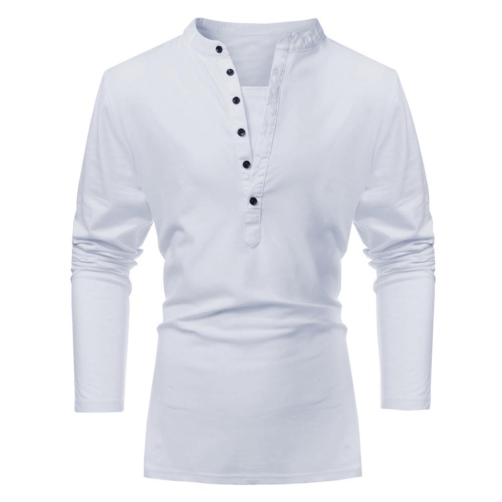 Os homens caem de poliéster algodão botão de cor pura sólida v- pescoço t -shirt de manga comprida