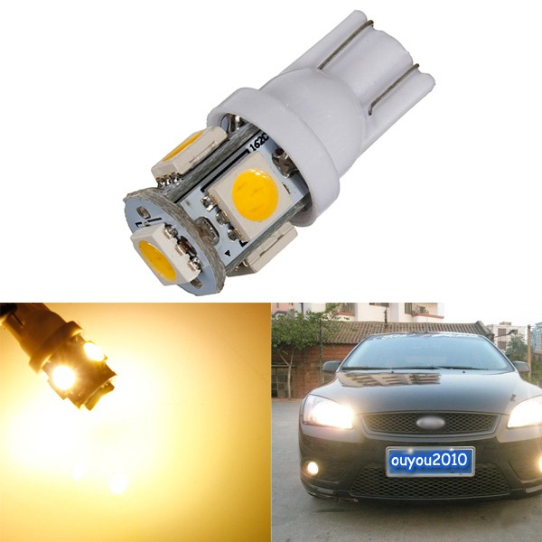 Warm White 3000K T10 W5W 5SMD 5050 LED Car Clearance Lamp Side Light