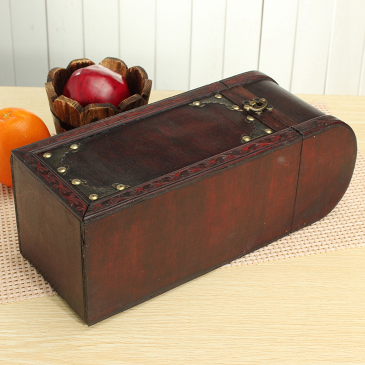 Retro Lock Wood Wine Box Storage Box With Handle Gift