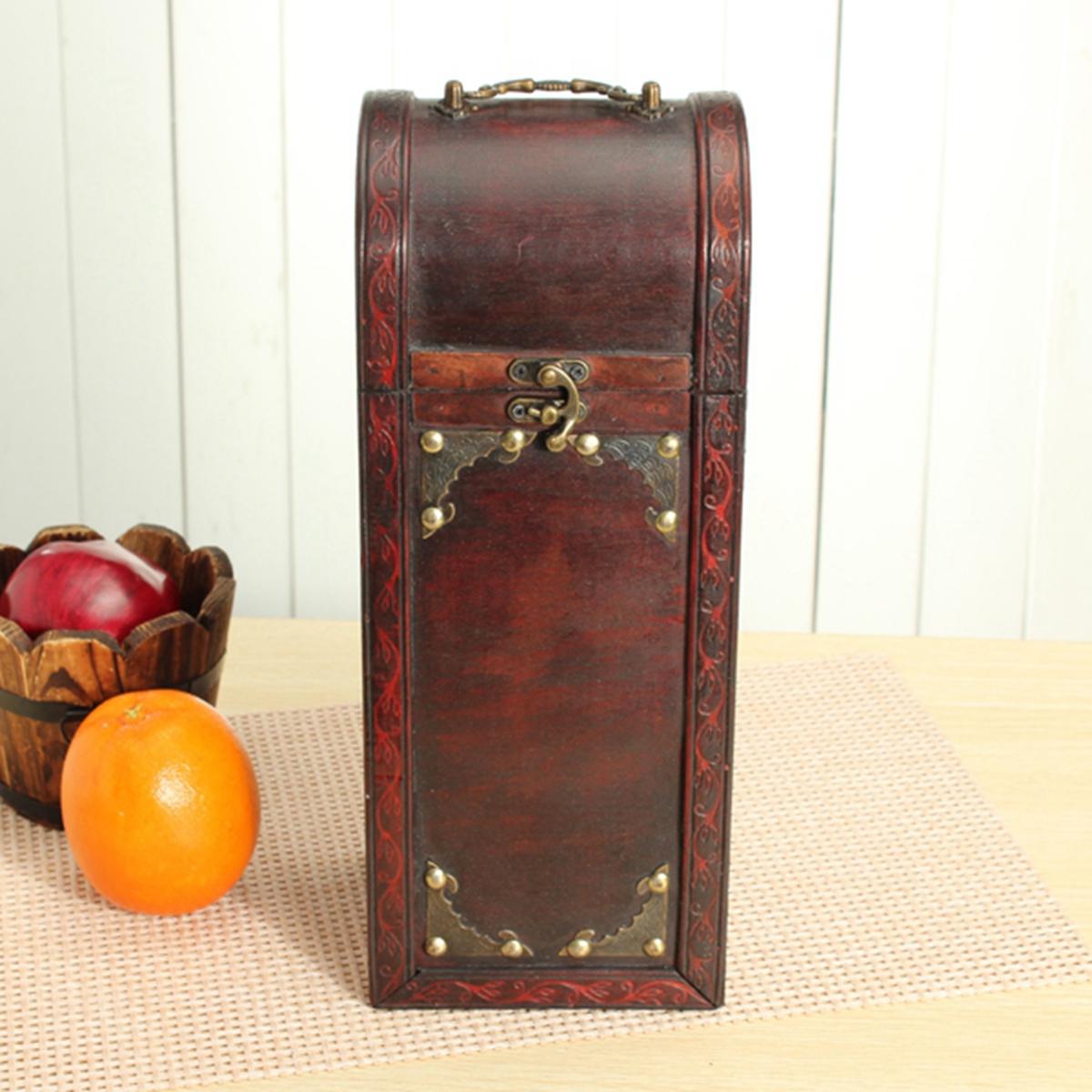 ретро деревянный контейнер для хранения коробки вина замка с подарком ручки