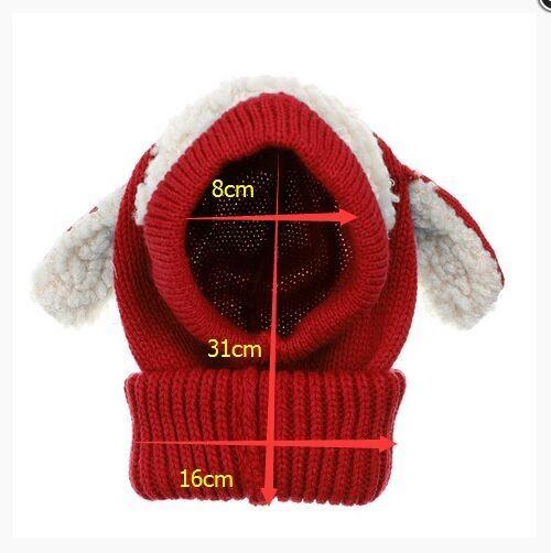 어린이 아기 강아지 귀 스타일 양모 모자 후드 스카프 Earflap Hat