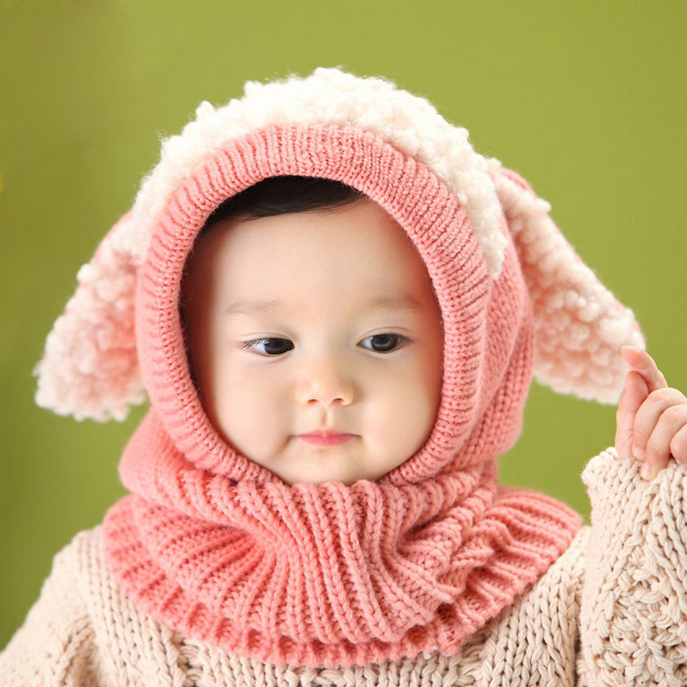 children baby dog ear style wool cap hooded scarf earflap hat at ... 65a54f66d66