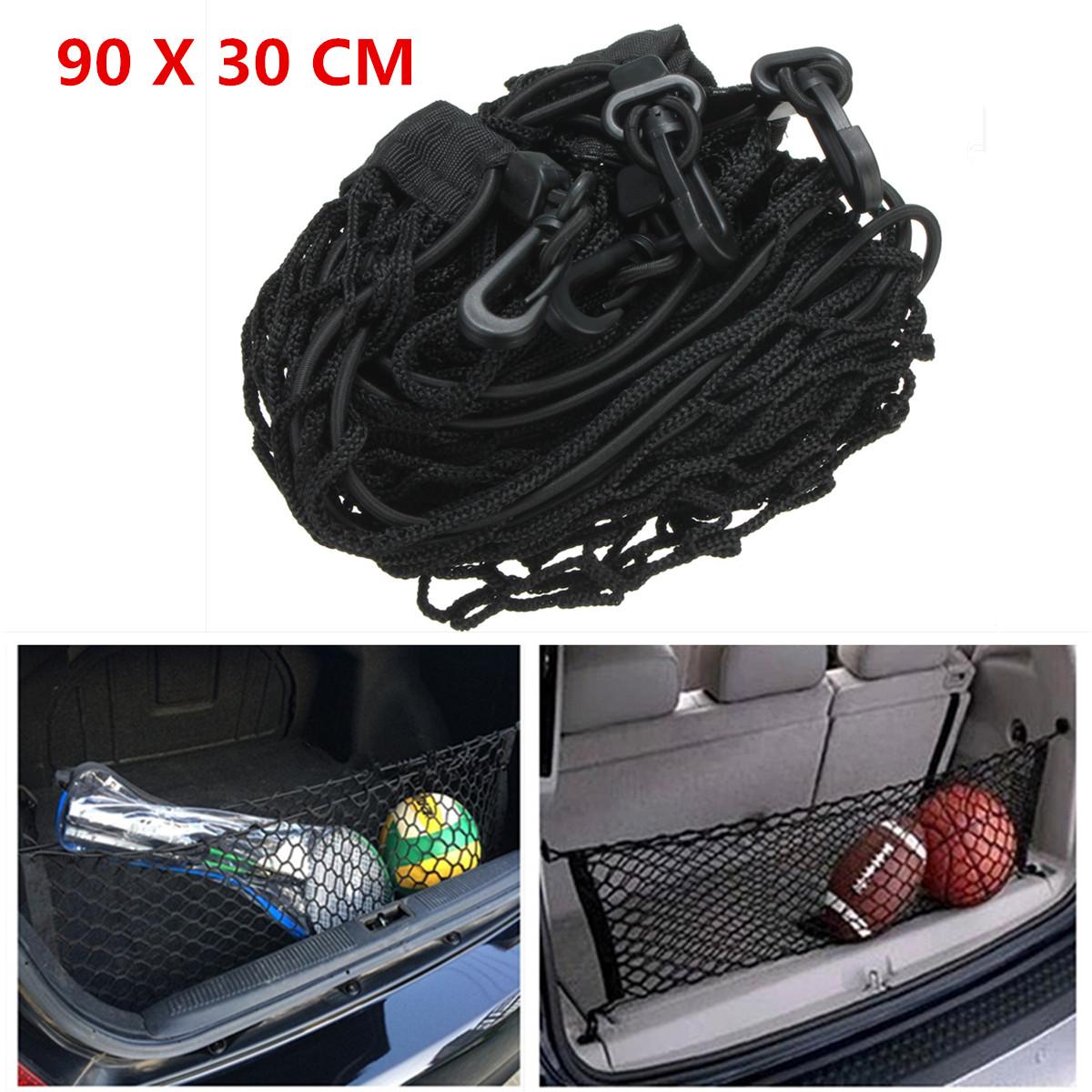 90x30cm Black Nylon Auto Kofferraum hinter Ladungs Organisator Speicher elastisches Mesh Net