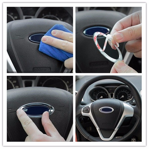 Car Accessories Silver Steel Ring Wheel Cover Ring Logo For Ford ...