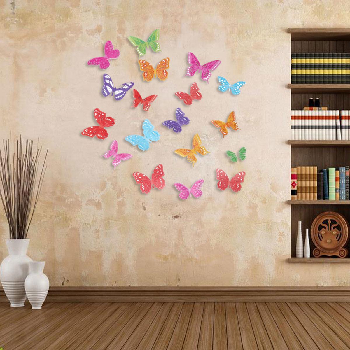 18pcs 3D 다채로운 DIY 스티커 아름다움 나비 벽 가정 예술 전사 술 결혼 파티 장식 선물