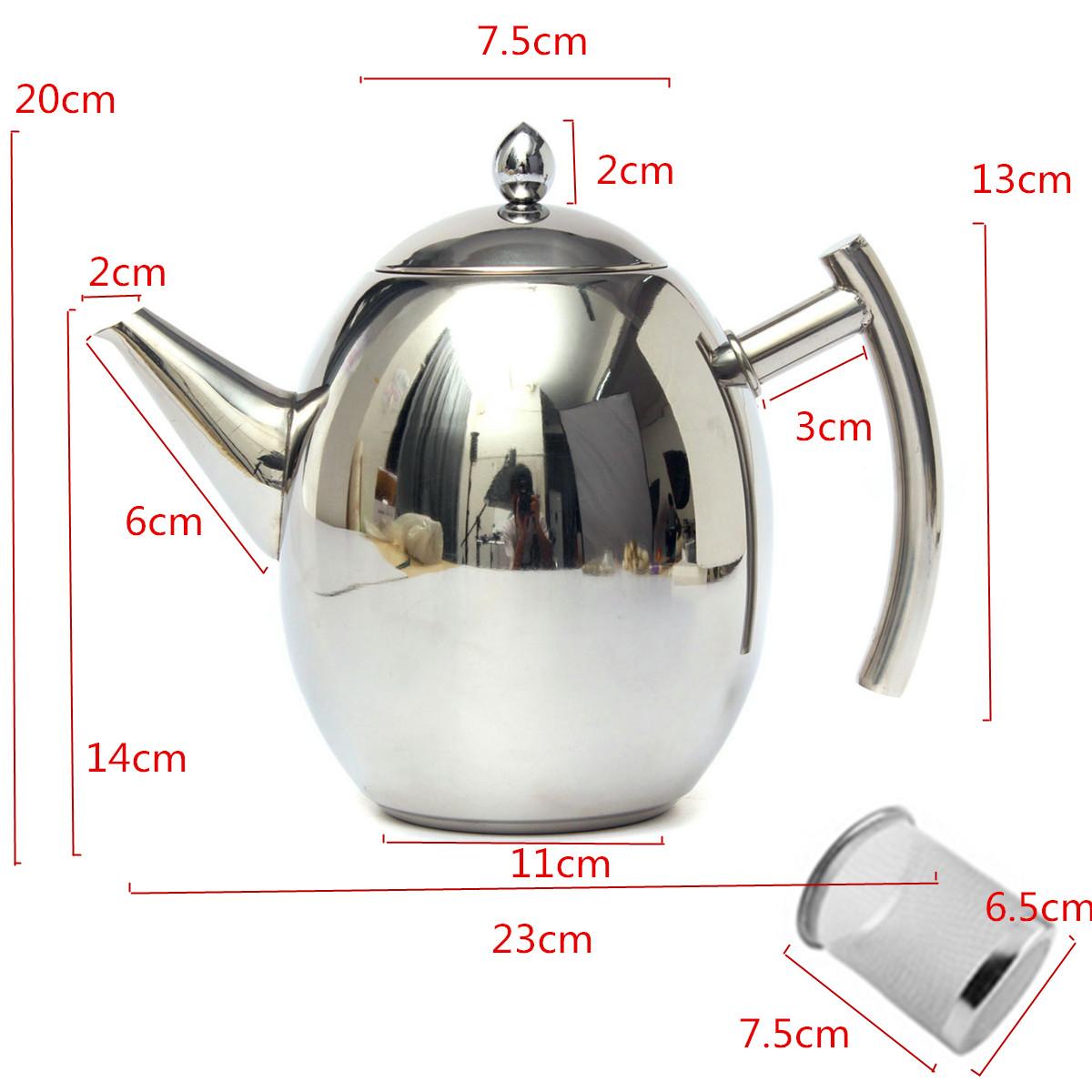 1500ml из нержавеющей стали чай чайник кофейник с фильтром