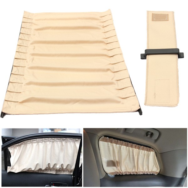 2pcs 70cm Retractable Auto Rear Valance Sunshade Drape Visor Car Window Curtain