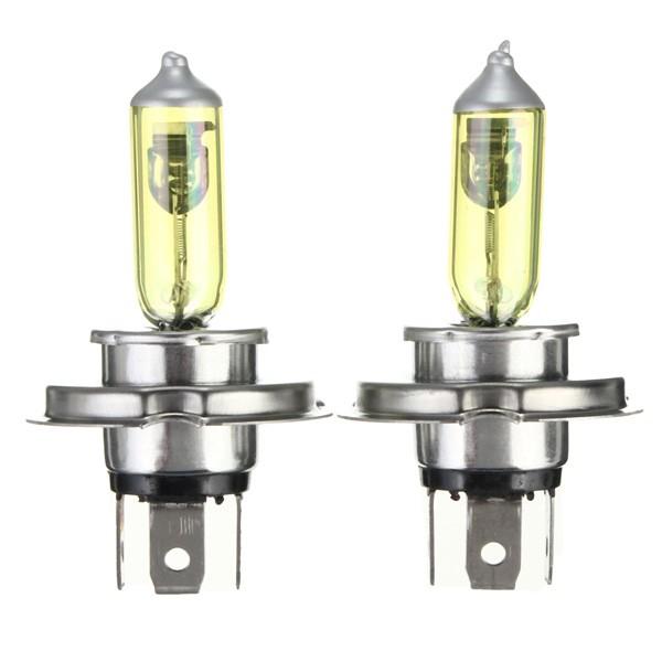 Um par de h4 escondeu lâmpadas de bulbos de luz de xénon dc12v 3000k amarelo