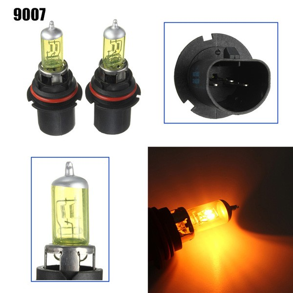 A Pair of 9007 HID Xenon Light Bulbs Lamps DC12V Yellow 3000K-3500K