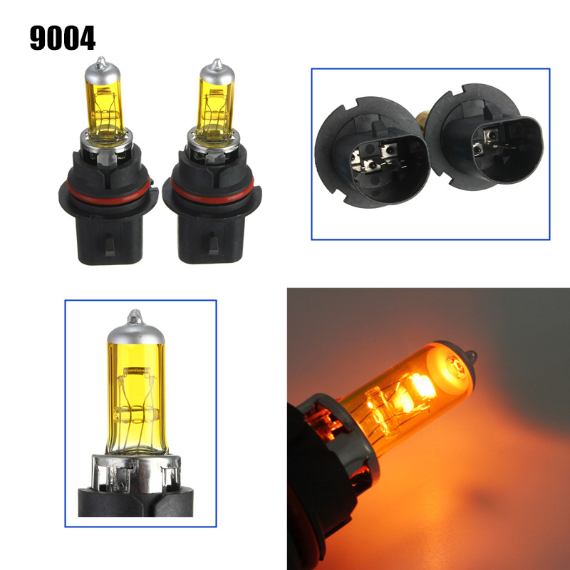 A Pair of 9004 HID Xenon Light Bulbs Lamps DC12V Yellow 3000K-3500K