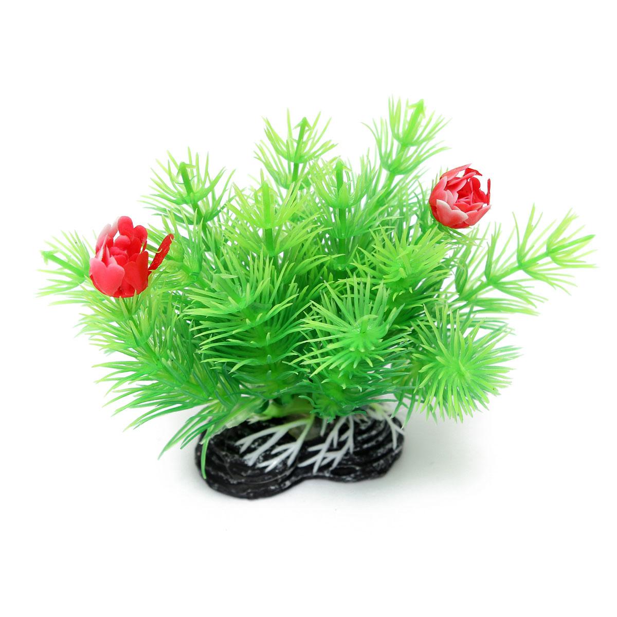 두 개의 꽃 수족관 장식과 수족관 물고기 탱크 인공 식물 잔디
