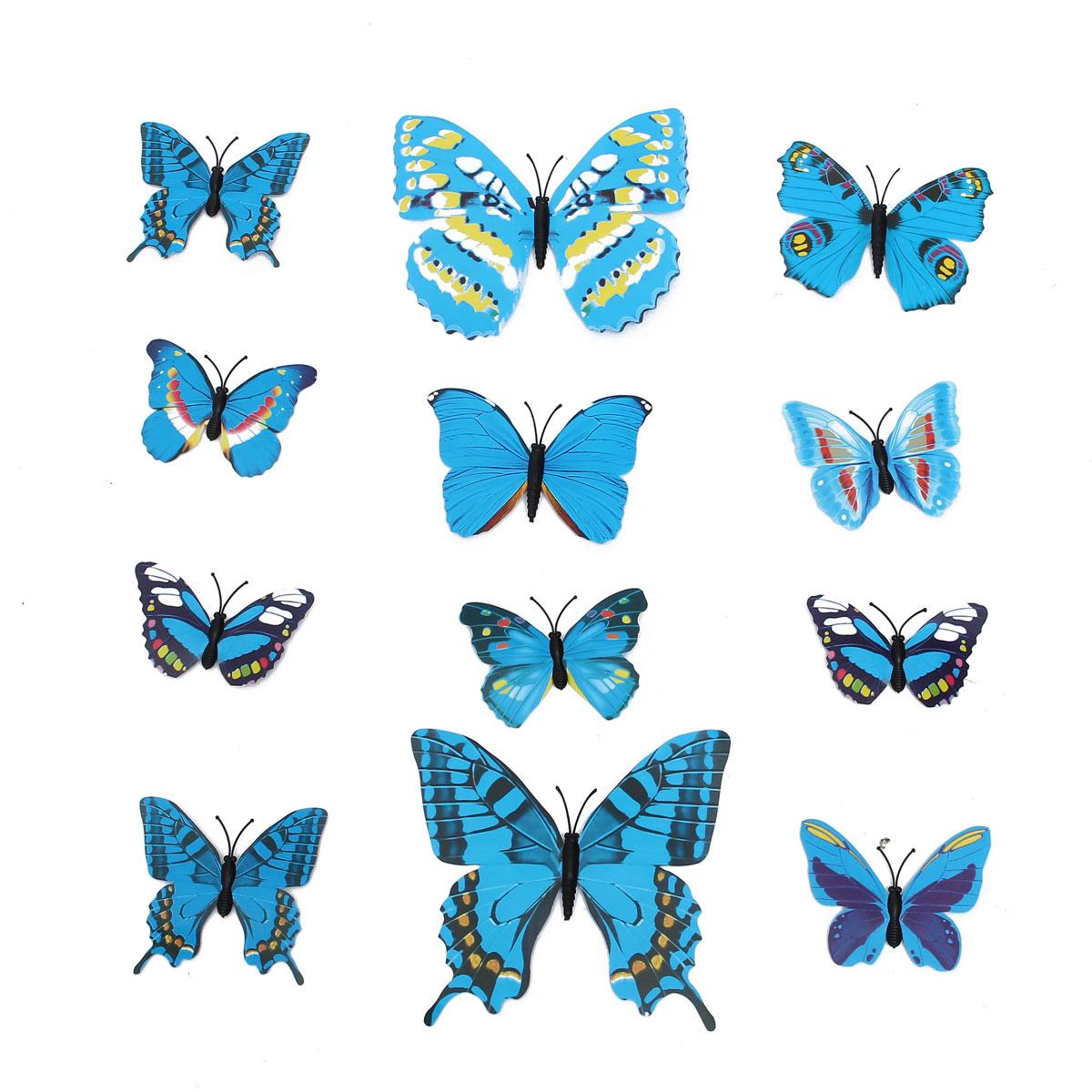 12pcs 3ras etiquetas adhesivas etiquetas de la pared de la mariposa azules decoración de la fiesta de bodas de casa