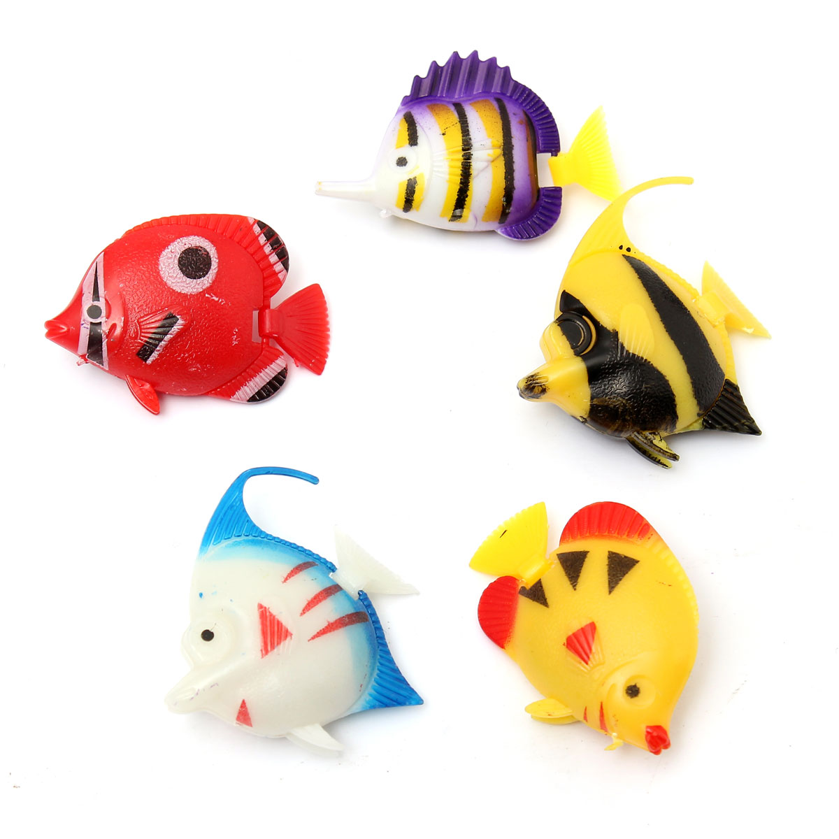 6pcs Aquarium Fish Tank Artificial Fish Multicolor Fish Ornament Decoration