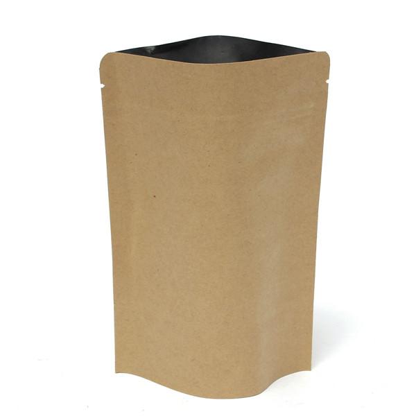 クラフト紙袋アルミ箔包装は、食品保管130x185mmのためのジッパーで立つ