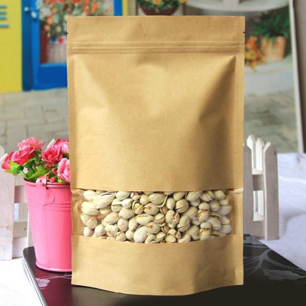 Kraft Papieren Zakken Verpakking Opstaan Met Rits Voor Voedsel Opslag 160 x 260mm