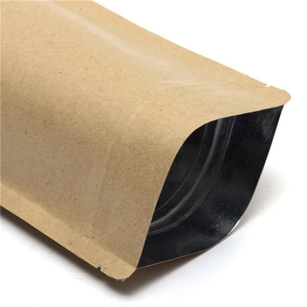 クラフト紙袋アルミ箔包装は、食品保管用のジッパーで起立します180x300mm