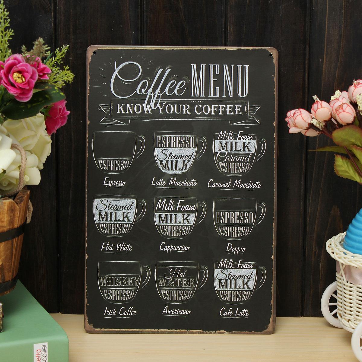 coffee menu sheet metal drawing metal painting tin cafe wall