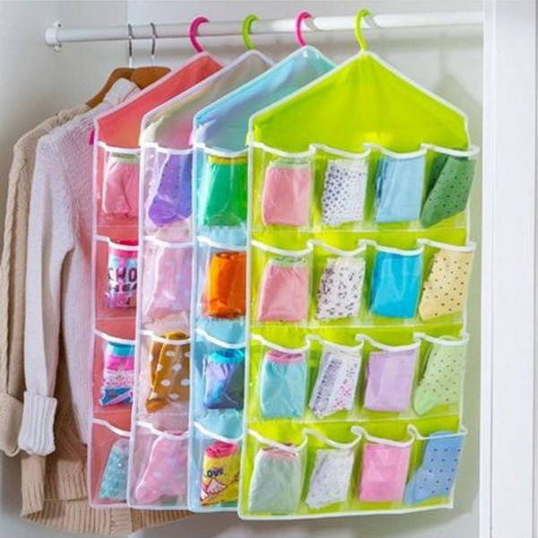16Pockets Oxford Hanging Organizer Wardrobe Closet Shoe Storage Bag Holder  Rack