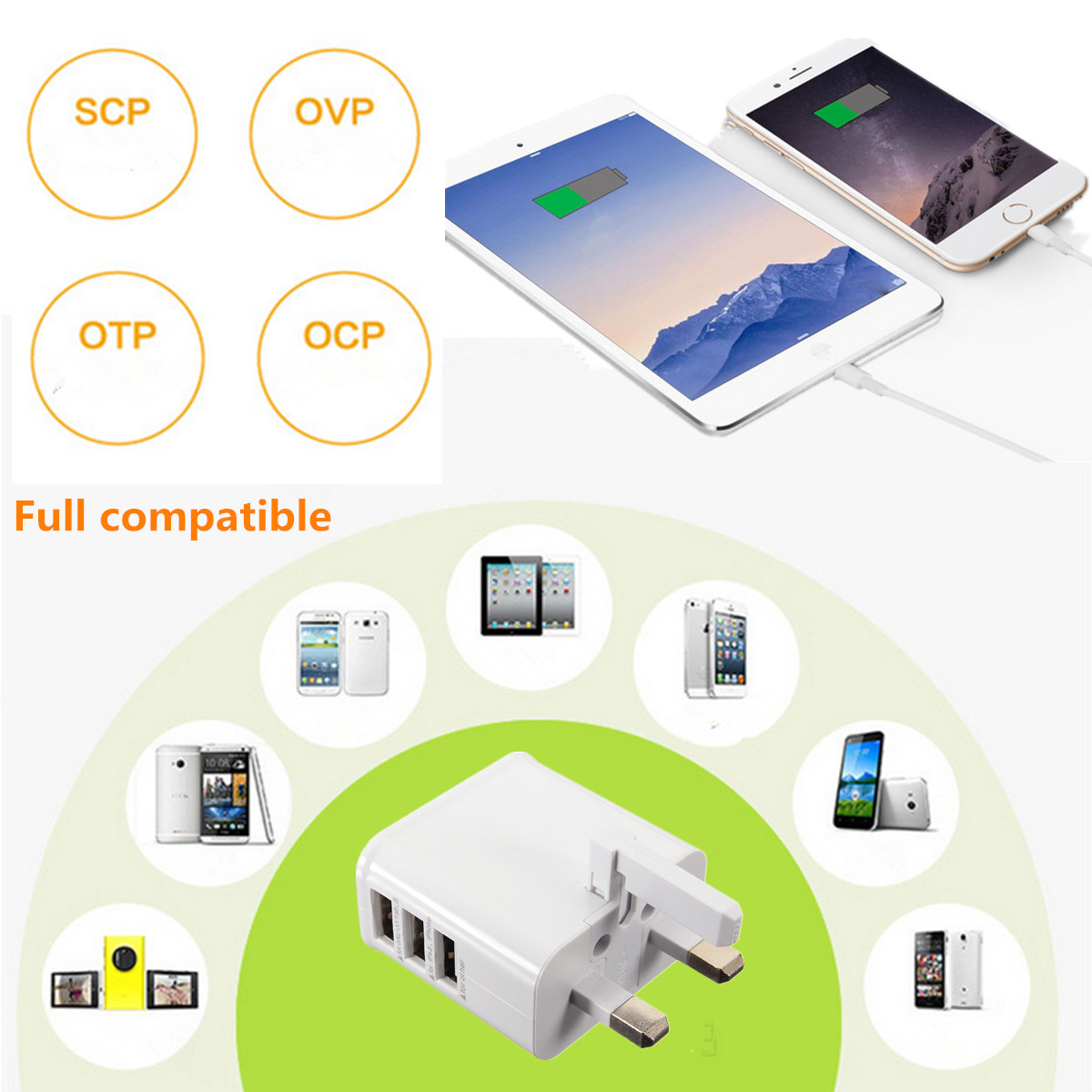 Universal Uk Plug 3 Usb Port 5v 3a Travel Wall Charger Adapter For Casan 3usb Samsung Lg