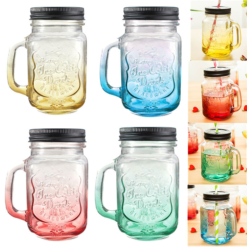 Fashion Graduated Color Glass Drinking Jar Cup Bottle 500ml