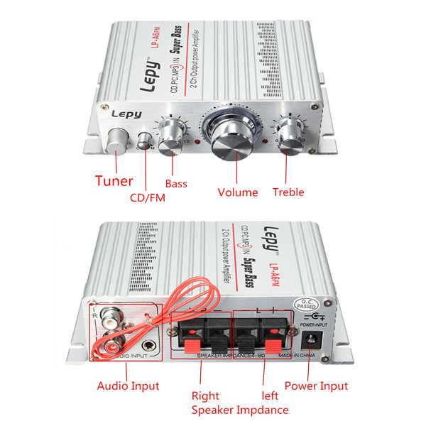 Lepy DC 12V Mini Hi-Fi Stereo Audio Amplifier Amp Car Motorcycle Home MP3 MP4 PC