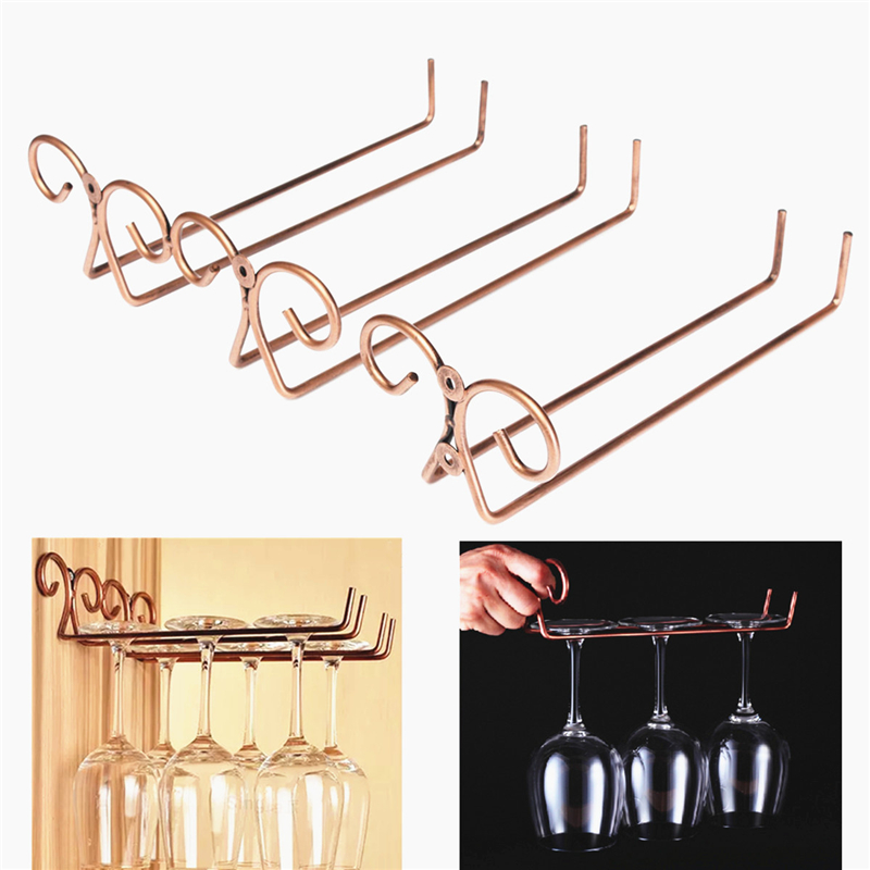 Bronze Stainless Steel Side Stand Wine Glass Hanger Rack Cup Glass Holder Shelf