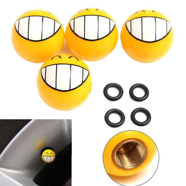 4 Pcs Smile Face Expression Car Tire Tyre Dust Stem Air Valve Caps
