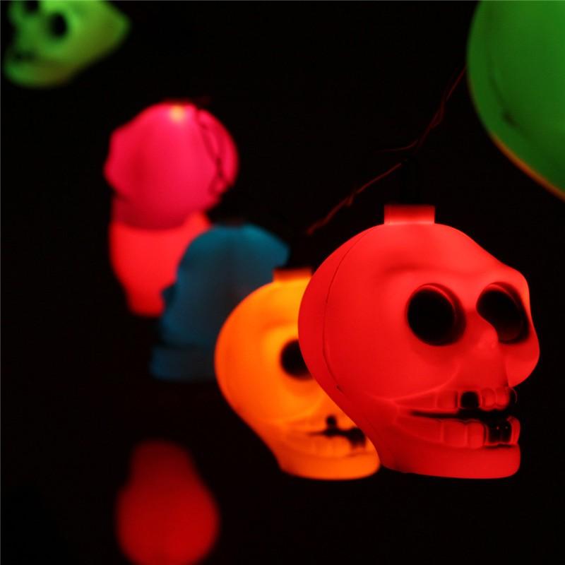 16 LED stringa teschio colorato lampada luce halloween bar deoration