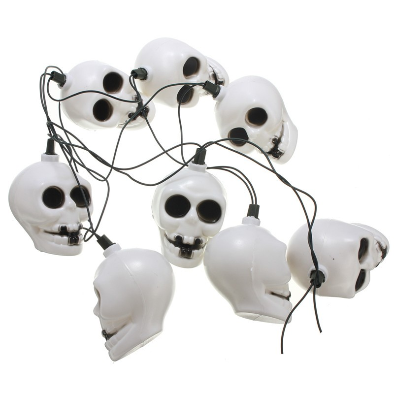 16 LED Colorful Skull String Light Lamp Halloween Bar Deoration