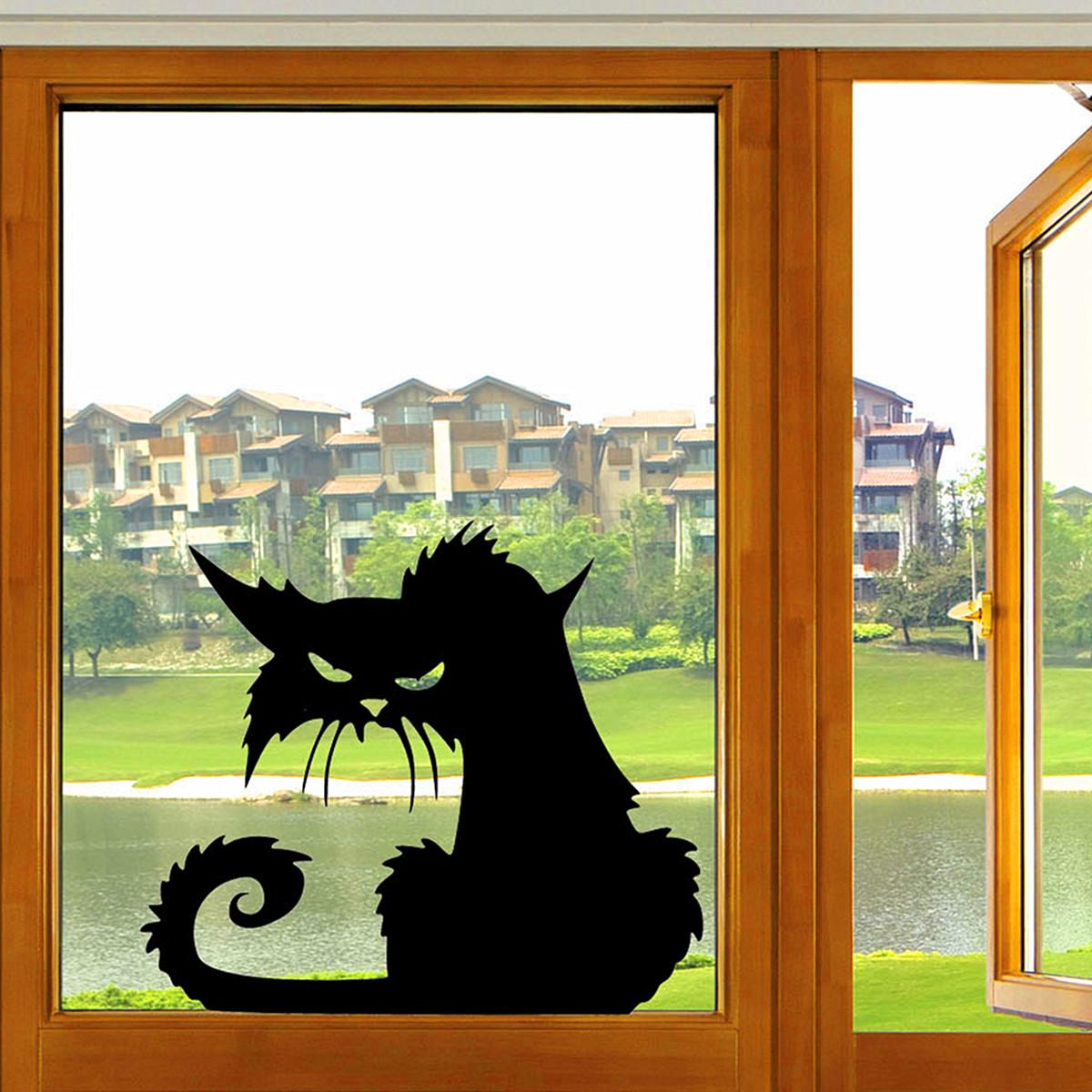 할로윈 무서운 검은 고양이 유리 스티커 할로윈 장식