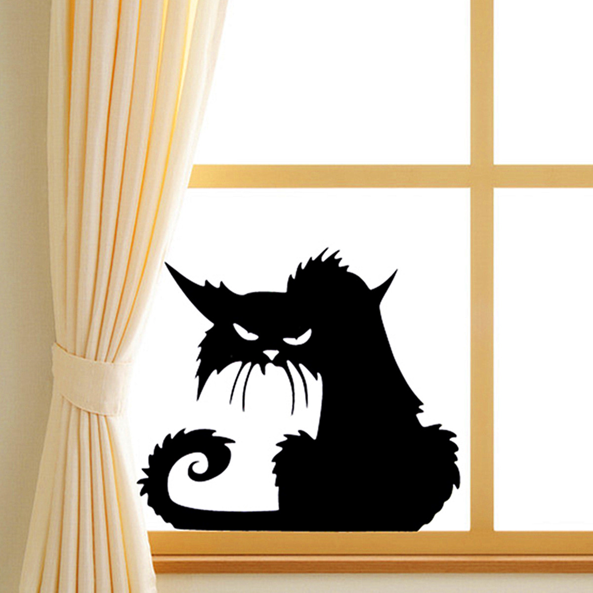 Wall stickers cat - Halloween Scary Black Cat Glass Sticker Halloween Decor