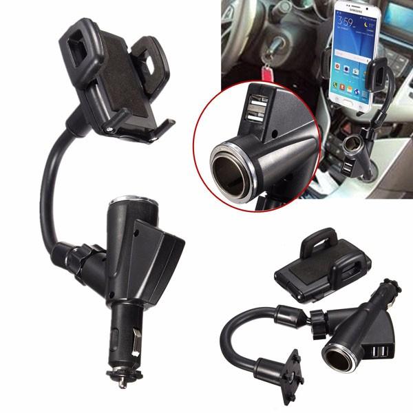 Doppio 2 porte USB auto accendisigari supporto del supporto per il telefono cellulare GPS