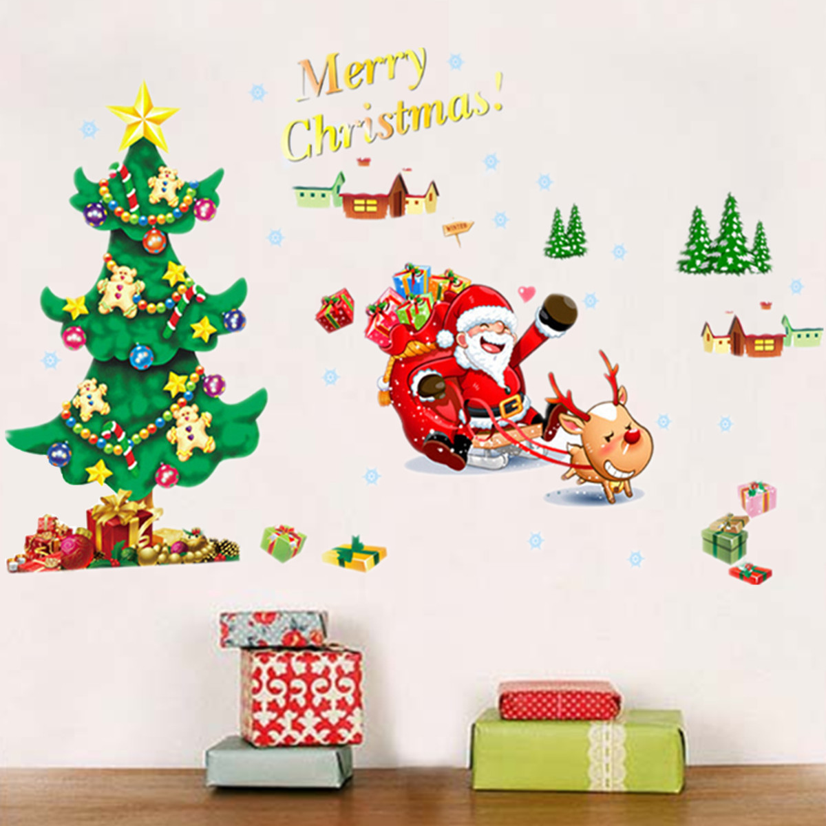 Merry Christmas Santa Claus Tree Wall Sticker Removerable DIY Window Door  Wall Home Decor Part 82