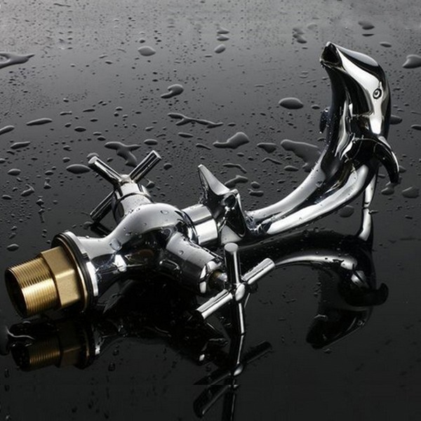 Creative Dolphin Shape Double Handle Basin Sink Mixer Tap Chrome Finish Faucet