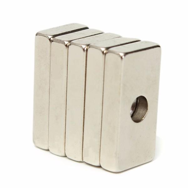 5pcs 20x10x4mm N35 fortes ímãs de neodímio de terras raras cubóide ímãs com furo 4 milímetros