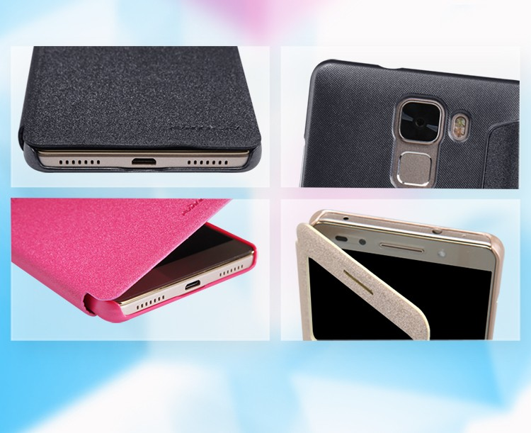 NILLKIN Sparkle Series Flip Leather Back Cover Case For HuaWei Honor 7