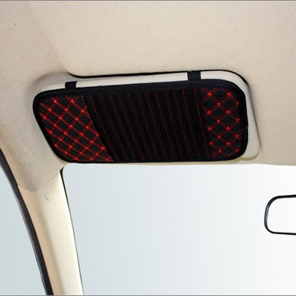 Latticed Car CD Clip Sun Visor CD Holder 13 Discs Storage PU leather
