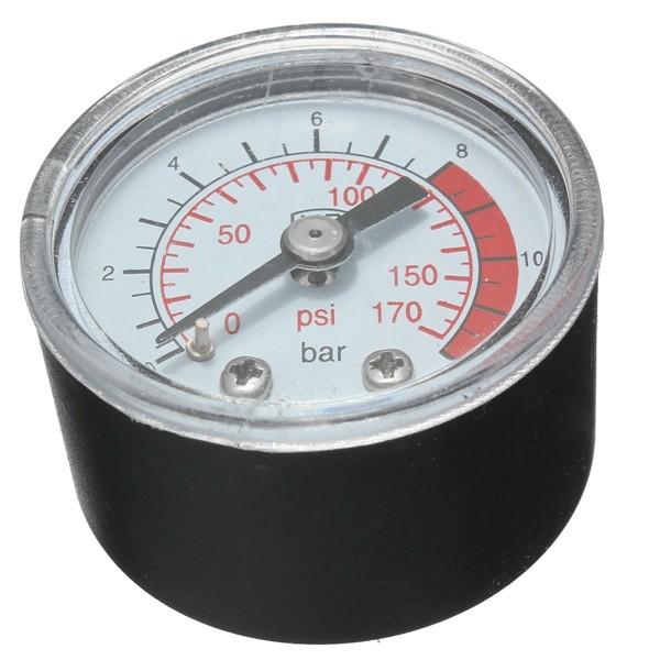 0-170 PSI 0 ~ 12 Bar Black Round Plastic Shell Air Pressure Compressor Gauge