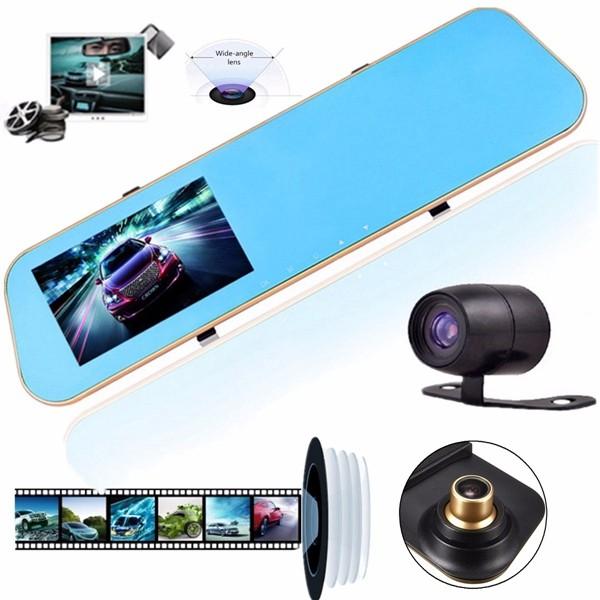 HD 1080P Dual Lens Car Dash Cam Rearview Mirror Camera Backup Video Recorder DVR