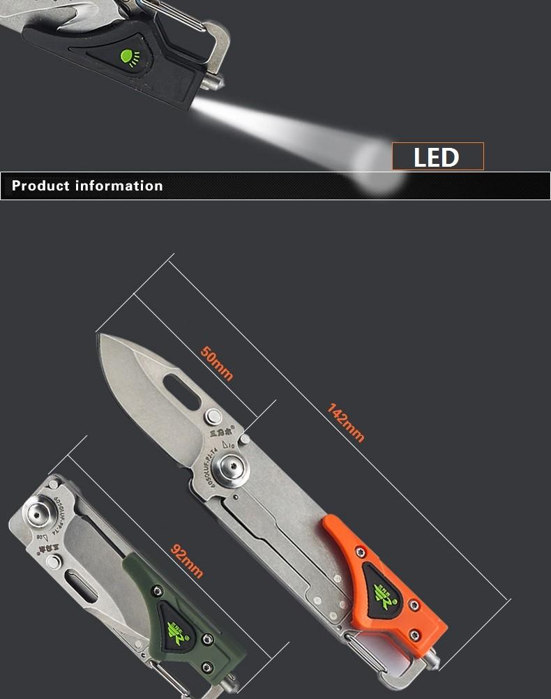 Sanrenmu plus6050 портативные 12 в 1 многофункциональном инструменте сворачивания выживания отвертки ножа с LED светом