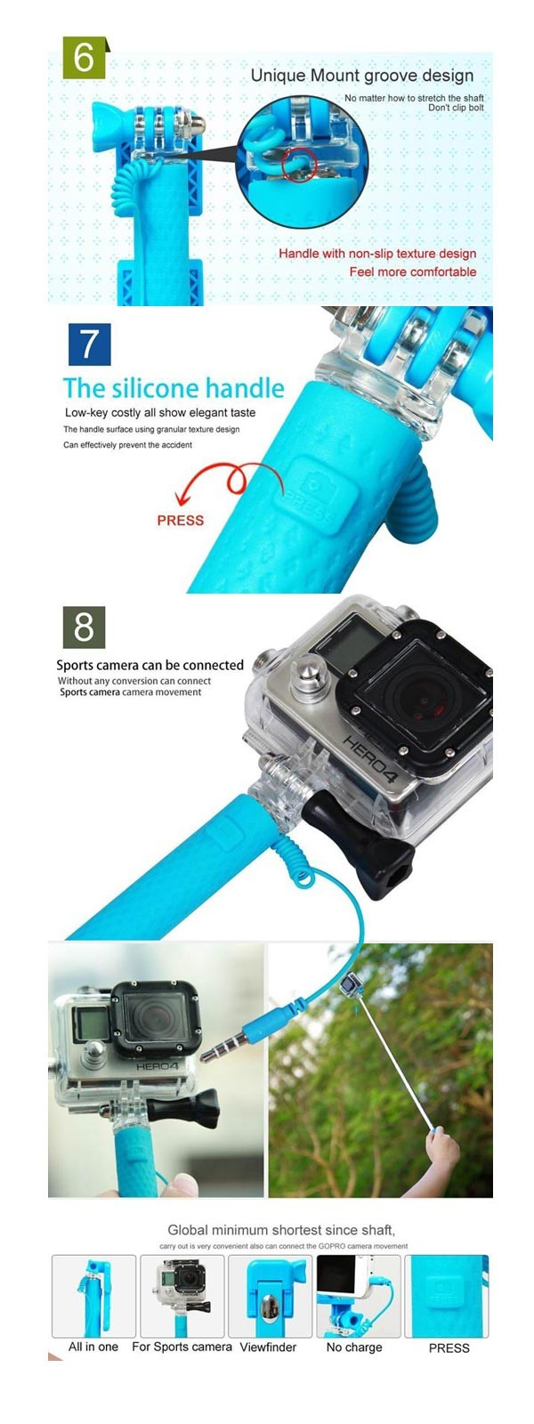 Icanany RK-Mini3 Wired Handheld Foldable Extendable Multifunction Clip Selfie Stick For IOS Android iPhone Gop