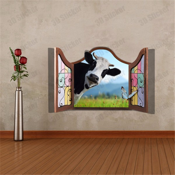 3D Dairy Cow Artificial Window View Cattle 3D Wall Decals Stickers Home  Room Decor Gift At Banggood