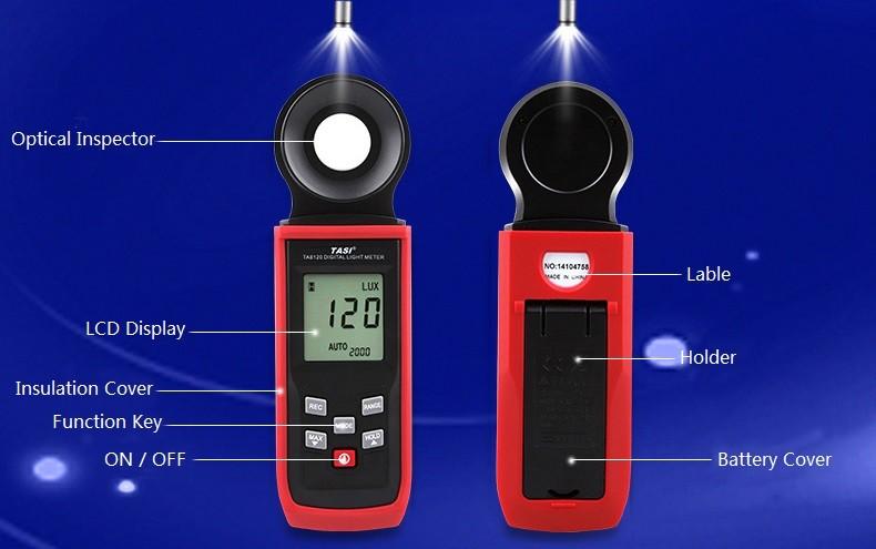 تاسي TA8122 200،000 لوكس الرقمية لد الخلفية الجيب ضوء متر لوكس فك قياس فاحص مقياس لوكس متر