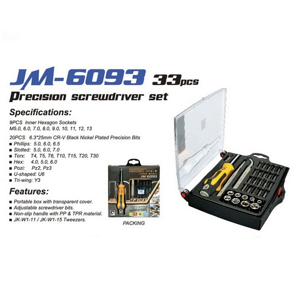 JAKEMY JM-6093 33 in 1 Screwdriver Tool Cell Phone Computer Repair Tool Multi-fuction Combination Screwdriver