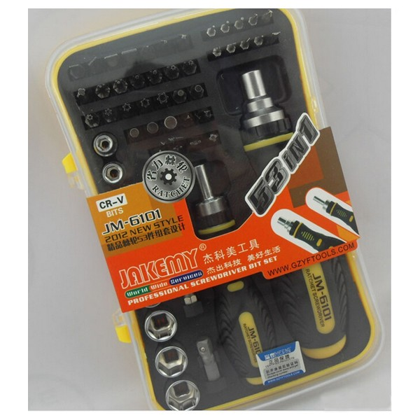 JAKEMY JM-6101 53 in 1 Mobile Computer Bicycle Household Ratchet Hand-tools Mini Pocket Screwdriver Bits Set