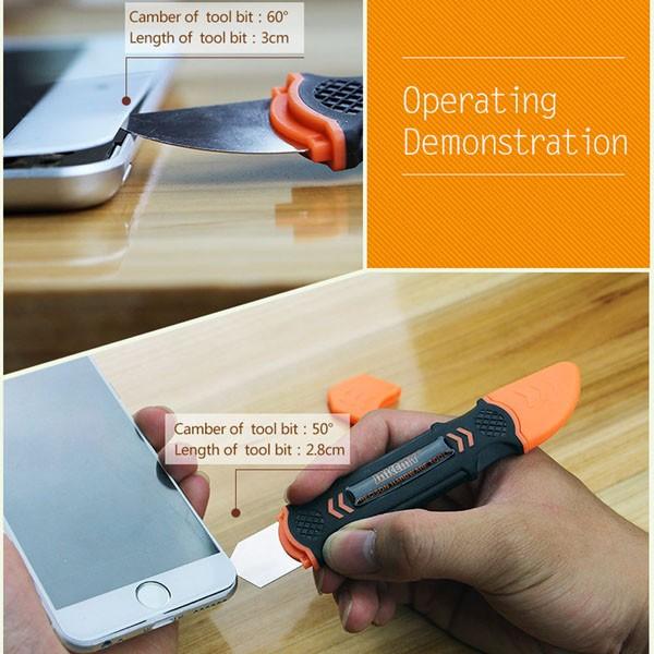 JAKEMY JM-OP12 Flexible de doble final de metal de apertura Prying herramienta para teléfono celular Tablet PC