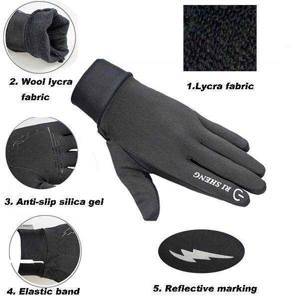 Outdoor Sports Cycling Gloves Touch Screen Gloves Winter Warm Bike Bicycle Gloves
