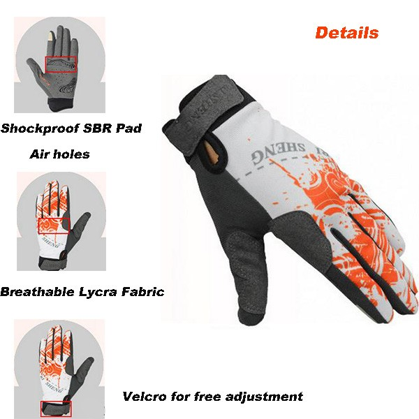 Il ciclismo di guanti di bicicletta di bicicletta che vanno in contatto dà in cinema guanti i guanti delle dita pieni