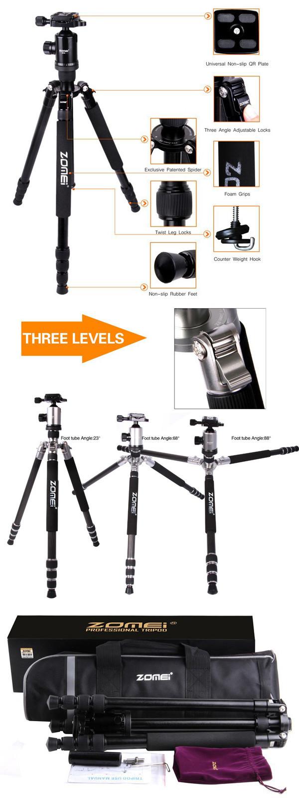ZOMEIDSLRカメラ用ボールヘッドとクイックリリースプレート付きZ818三脚一脚168.5cm高さ最大荷重18kg